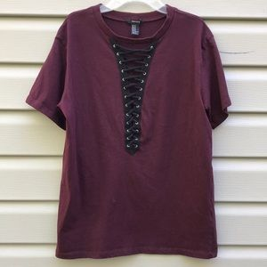 Maroon Lace-up Corset Tee